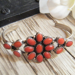 Navajo Coral Cluster Cuff BRACELET Sterling Silver
